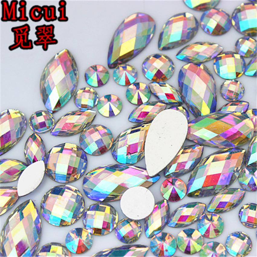 Micui 100PCS Multiple Shape AB Clear Resin Rhinestone Flatback Gems Strass Crystal Stones For Dress Crafts Decorations MC738