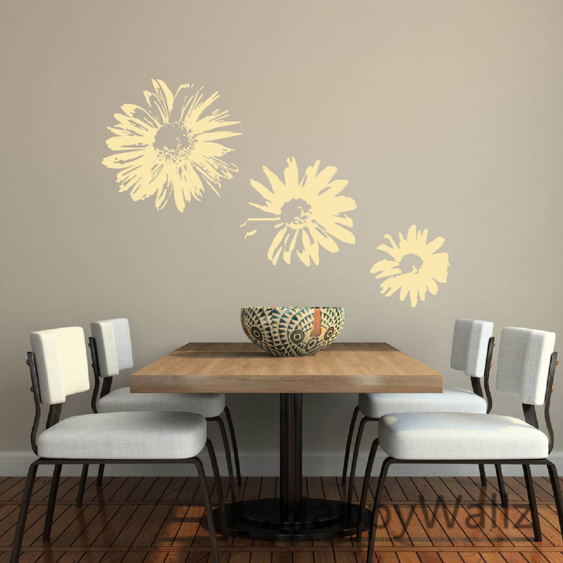 3d Sunflower Wall Sticker Flowers Wall Decal DIY Easy Wall
