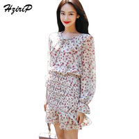 HdriP 2018 Spring Lotus Leaf Chiffon Elastic Waist Embellish Pastoral Style Woman Dress Long Sleeve High Waist Mini Vestido