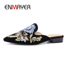 ENMAYER Women Embroidery Velet Mules Slides Chiara Ferragni Furry Slipper Med Heel Flip Flops Slipony Slip On Sandal Shoes CR152