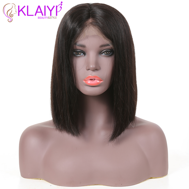 Klaiyi Hair Straight Bob Human Hair Wigs 8 14 inch Pre Plucked Brazilian Remy Hair 13*4/13*6 inch Lace Front Wig 150% Density-in Human Hair Lace Wigs from Hair Extensions & Wigs    3