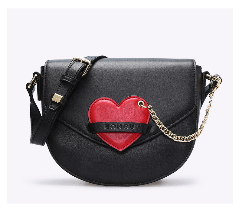 Honggu small bag 2018 luxury female bag new saddle bag leather handbags fashion Messenger bag wild casual diagonal shoulder bag qiaobao 2018 new korean version of the first layer of women s leather packet messenger bag female shoulder diagonal cross bag