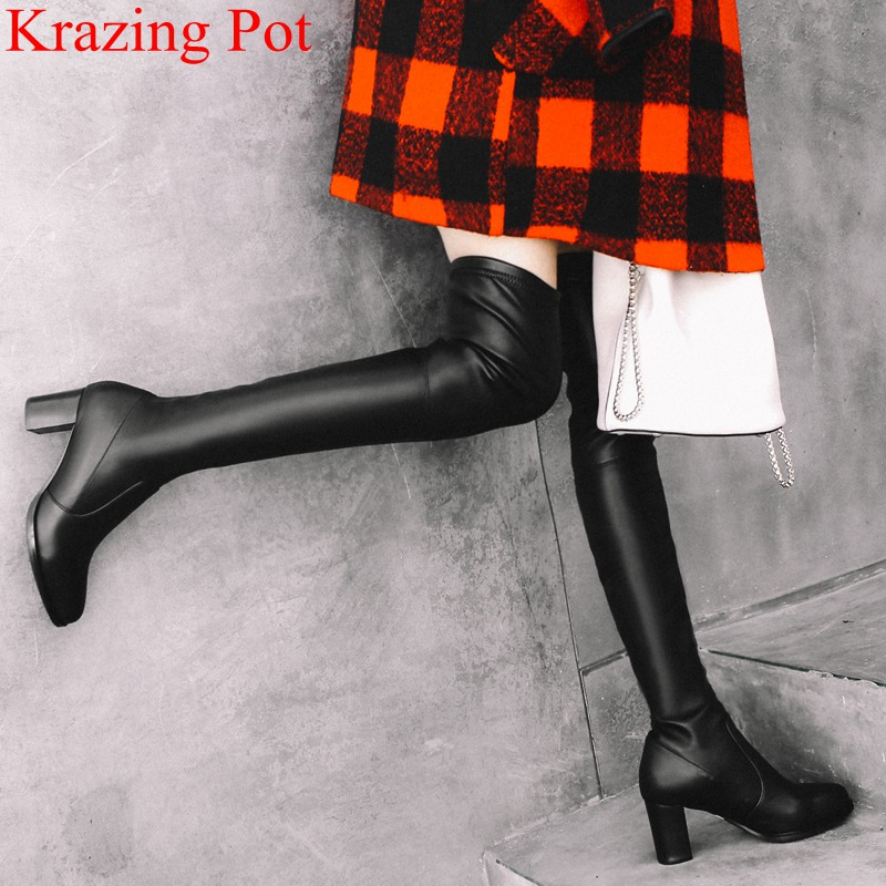 все цены на 2018 round toe zipper cow leather high heels over the knee boots office lady zipper keep warm thigh high boots winter shoes L03 онлайн