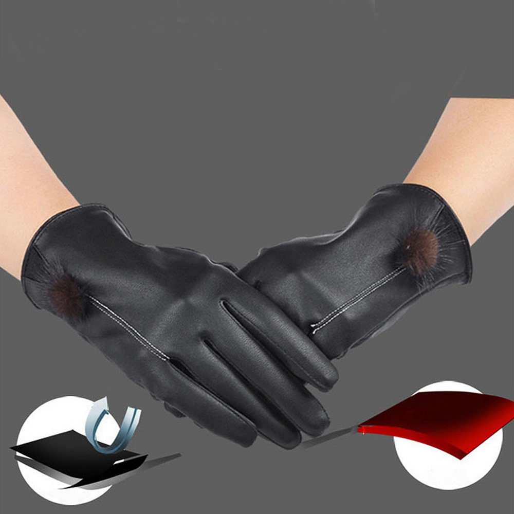 Womens leather smartphone gloves - 2016 Women Girls Winter Luxuy Leather Screen Gloves Mittens Warm Gloves Guantes For Smartphone Tablet Pad Driving Lyw
