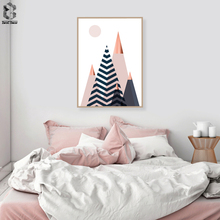 Modern Canvas Art Poster Print Geometric Landscape Painting Nordic Style Abstract Wall Art Picture for Living Room Home Decor