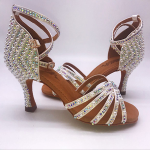 Image 2 - 2018 Sneakers BD 311 Girls Latin Dance Shoes Soft Bottom Adult Latin Shoes Diamond Shoe Add Drill Ballroom SALSA Pearl White HOT