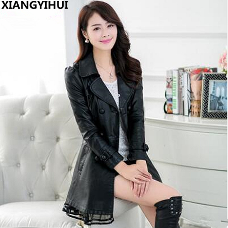 Fashion Plus Size 5XL Long   Leather   Jacket Women   Leather   Coat Female 2017 autumn Ladies lace   Leather   Jackets Coats black