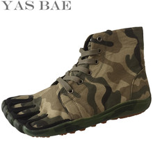 Yas Bae Design Rubber with Five Fingers Outdoor Slip Resistant Breathable Light Weight Mountaineer High Camouflage Shoes for men