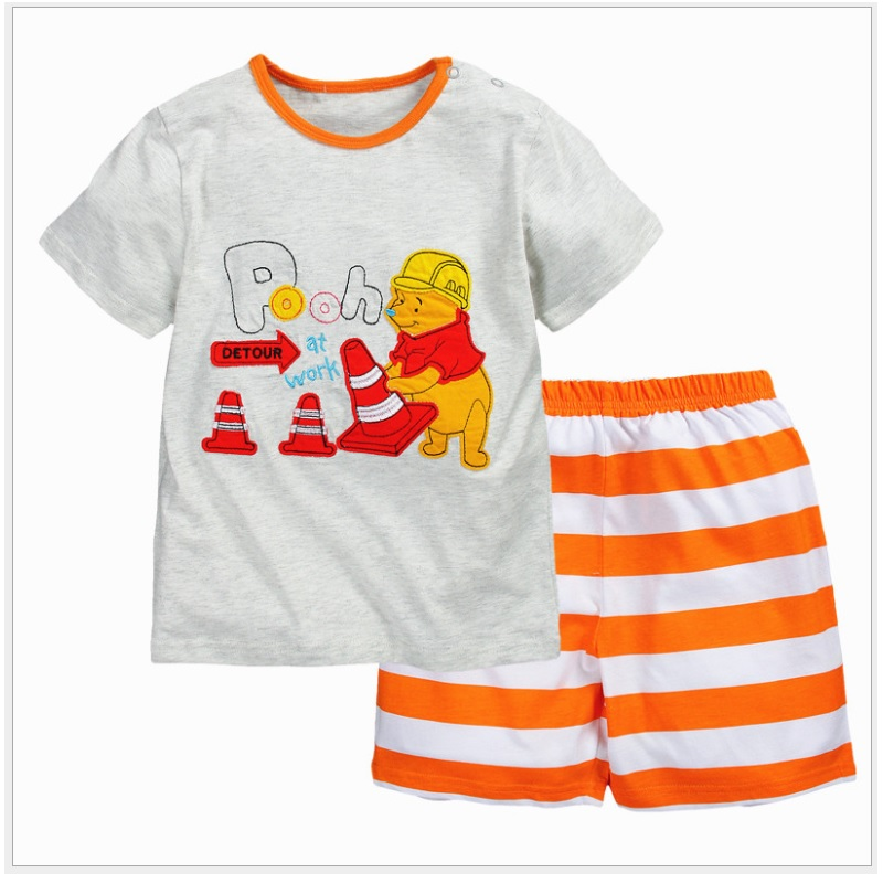 Brand New Winnie Boys Clothes Suits Kids T-Shirts Stripe Pants Cotton Baby Boy Clothing Set Summer Short Sleeve  summer t shirts for boys cotton kids shirts dinosaur short sleeve pullover clothes v neck boy t shirt fashion children clothing