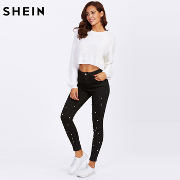 SHEIN Women Jeans Pants Skinny Pearl Beaded Front Jeans Summer Spring Mid Waist Zipper Fly Long Denim Casual Pants 1