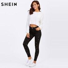 SHEIN Women Jeans Pants Skinny Pearl Beaded Front Jeans Summer Spring Mid Waist Zipper Fly Long Denim Casual Pants