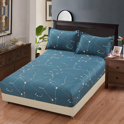 100% Cotton star cartoon blue bed sheets fitted sheet elastic mattress cover bed linen bedspread twin full queen king customized