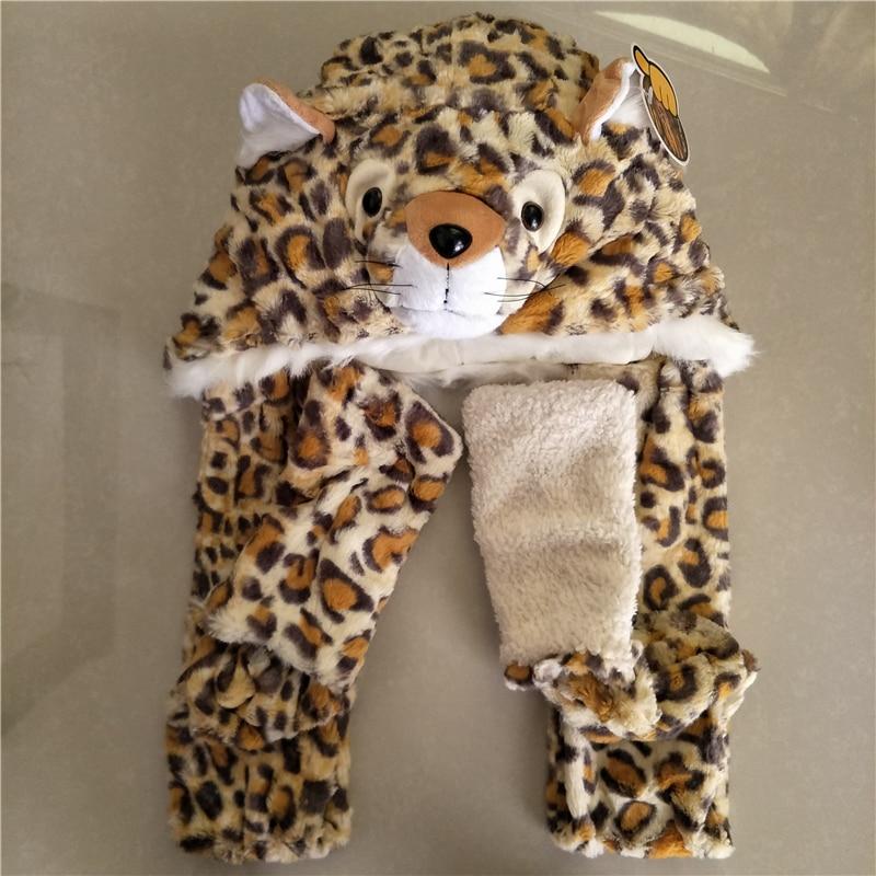 Cute Warm Winter Faux Animal Fur Hat Fluffy Plush Cap Dint Hood Animal Scarf Shawl With Gloves Set Leopard Cat Hat Scarf Set