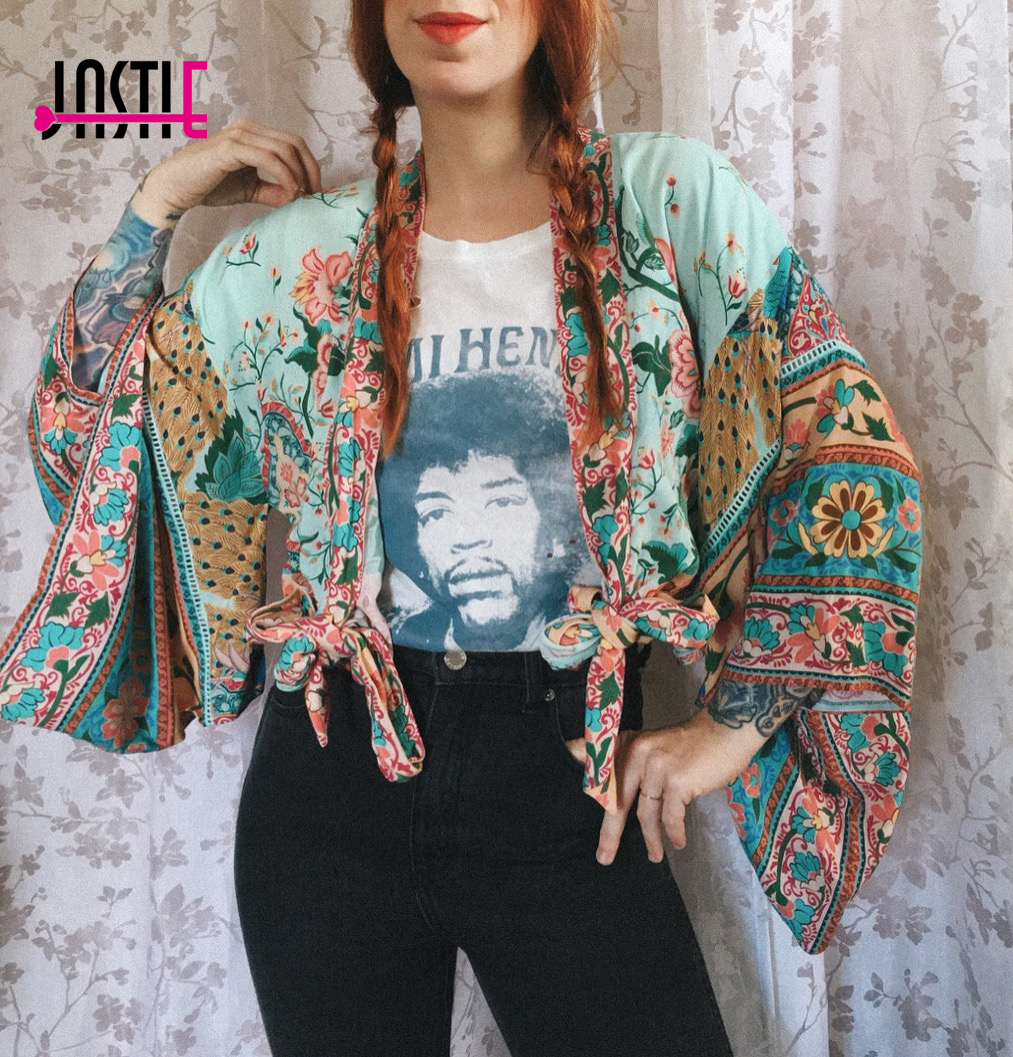 Jastie Floral Print Kimono Jacket 2018 Spring Summer Jackets V-Neck Kimono Sleeve Casual Beach Cardigan Boho Women Jacket Top