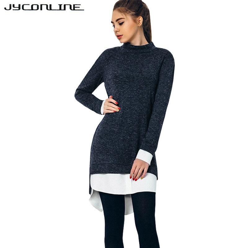 JYConline 2017 Winter Knitted Dress Long Sleeve Sweater Dress Stitching Long Sweater Women Dress Preppy Pullover Female Vestidos