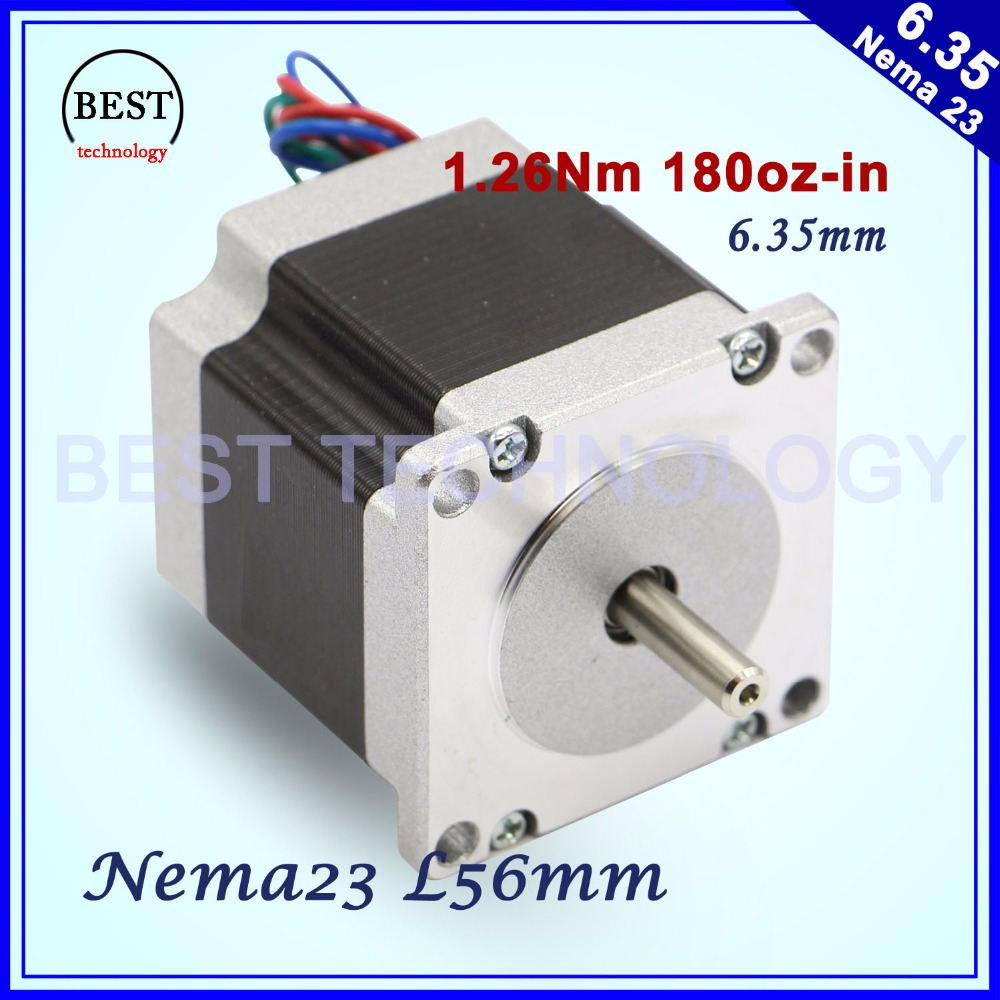 CNC Stepper motor 57x56 NEMA 23 stepper motor 3A 1.26N.m stepping motor 180Oz-in for CNC engraving milling machine 3D printer free ship 3pcs dual shaft nema 23 stepper motor 1 89n m 268oz in 76mm 3a direct selling