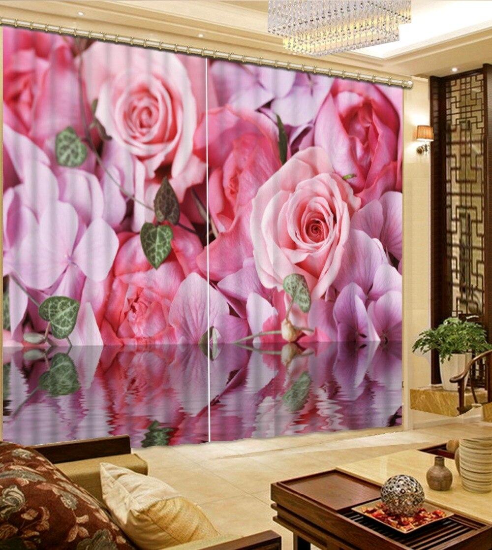جودة عالية تخصيص حجم الحديثة 3d ستارة غرفة المعيشة ديكور المنزل الفن الوردي زهرة الورد الطبيعي العرف الستار