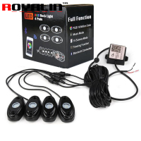 ROYALIN Car Lights 4 Pods RGB LED Rock Light with Phone APP Bluetooth Wireless Remote Controller Timing Function Music for Auto