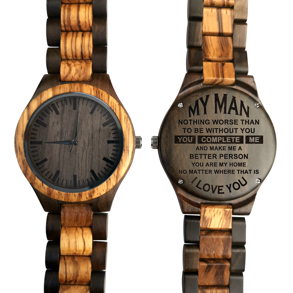 To My Man-Personalized Wooden Watch - Mens Watch Gift For Men Engraving Zebra Wooden Watch