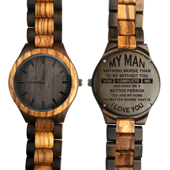 To My Man-Personalized Wooden Watch - Mens Watch Gift for Men Engraving Zebra Wooden Watch redear top quality wood men watch automatic zebra wood and ebony black watch the best gift for man without logo