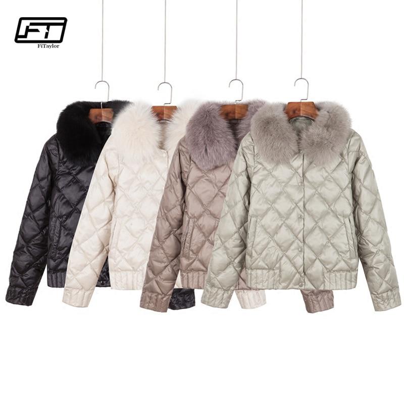Fitaylor Women Down Jacket Winter Warm Ultra Light Real Collar Short Jacket White Duck Down Parka