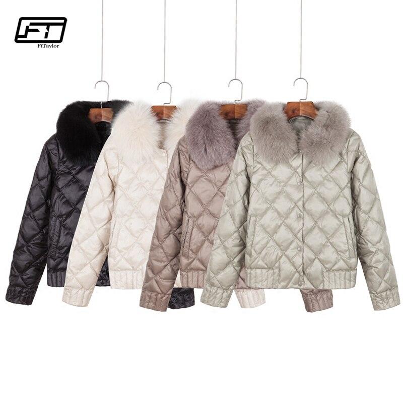 Fitaylor женский пуховик зимний теплый ультра легкий настоящий воротник короткая куртка белая утка вниз парка элегантное пальто верхняя одежд...