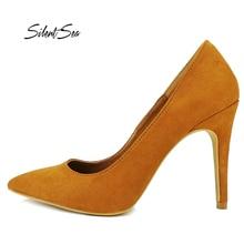 087ebee64 Silentsea New Women Shoes Basic Style Retro Female High Heels Pointed Toe  Office   Career Women