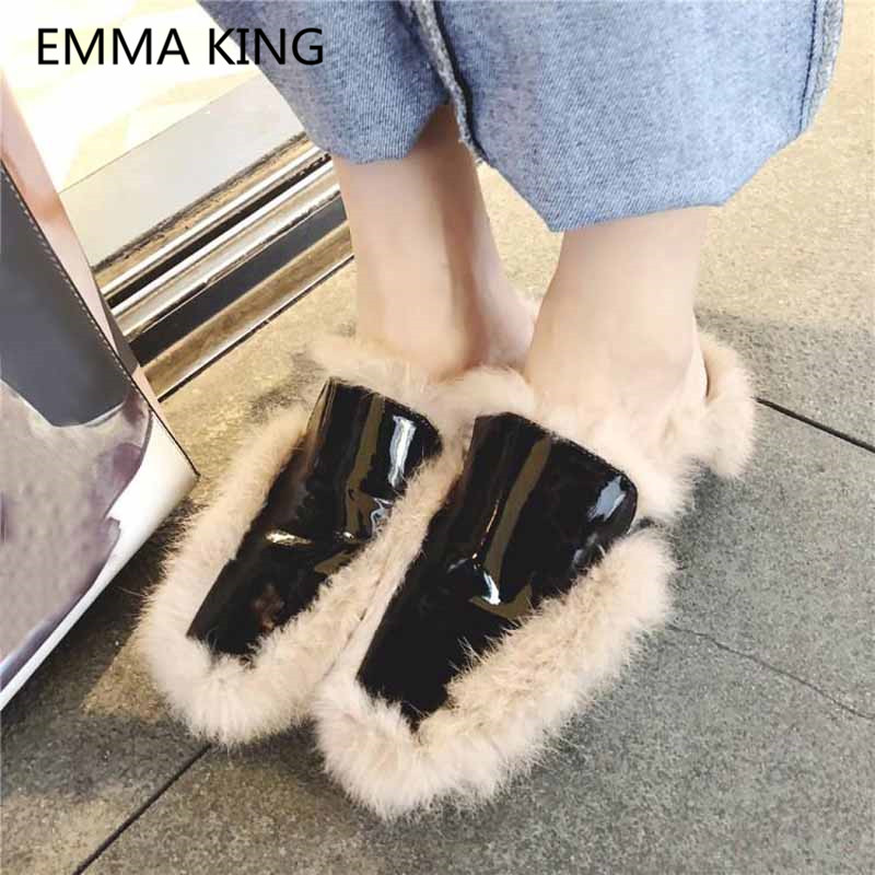 Street Style Vintage Women's Fur Shoes Luxury Patent Leather Loafers Slip On Casual Flats Cozy Woman Mules Shoes Winter Slippers