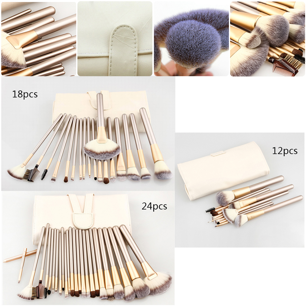 Vander 24/18/12pcs make up brushes Set +Leather Case Beauty Luxurious Beauty Powder Makeup Brush Tools Kit pincel maquiagem hot sale 2016 soft beauty woolen 24 pcs cosmetic kit makeup brush set tools make up make up brush with case drop shipping 31