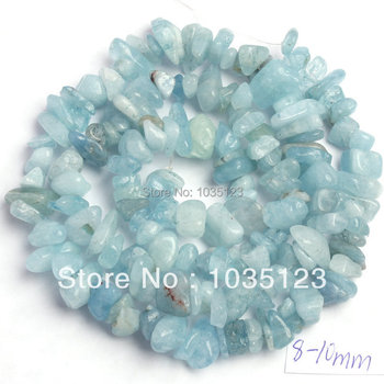 цена 5-8mm Pretty Natural Aquamarines Freeform Gravel DIY Gems Loose Beads Strand 16