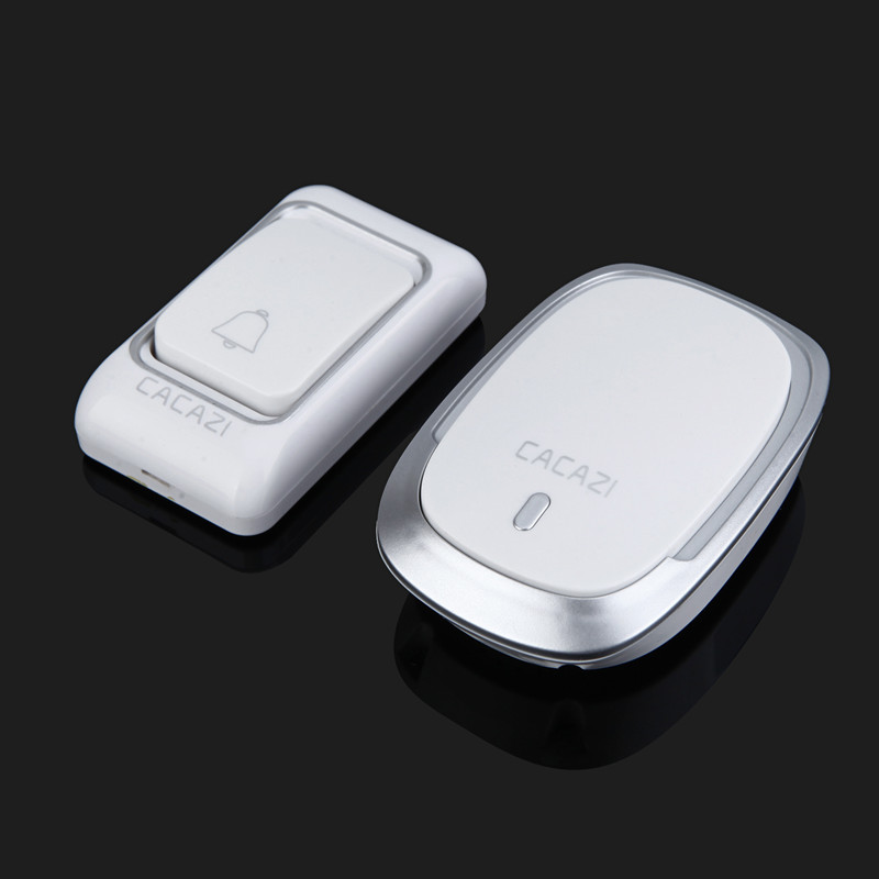 CACAZI Wireless Doorbell Bell Home Waterproof Battery 1 Button 1 Receiver Smart Home Cordless Door Bell Chime 200M Remote
