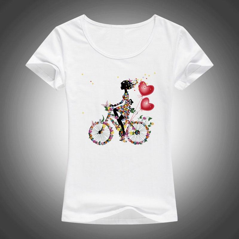 2017 Mädchen Fahrrad T Shirt Frauen Floral Blumen Drucken T Shirts Frau Tops Lustig Schmetterling T-shirt Femme Kleidung F80