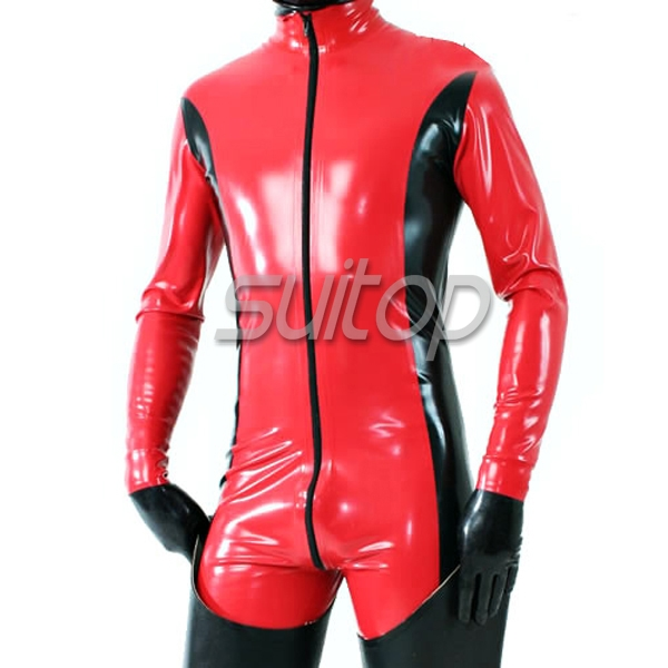 Red Rubber Suite: Men's Red Latex Rubber Catsuit With Gloves Sexy And Hot
