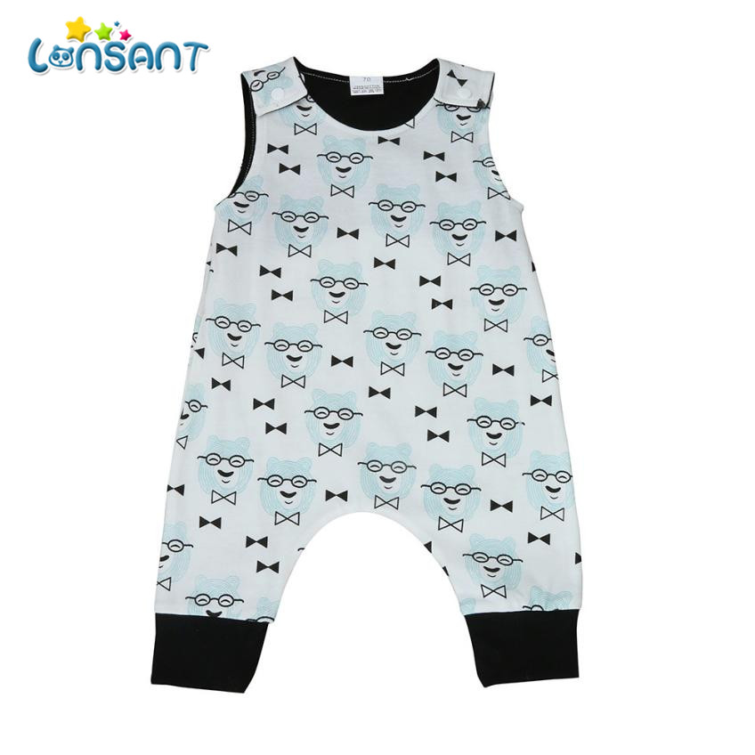 LONSANT Rompers Baby Summer Boys Clothes Newborn Girl Rompes Jumpsuit sleeveless Infant Baby Playsuit Sunsuit E0740