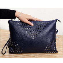New Genuine Cow Leather Women Messenger Bag Pure Color Ladies rivet zipper Shoulder Bags Women Mini Bag Clutch handBags