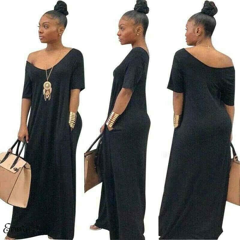 Новое Женское Повседневное платье с коротким рукавом и вырезом в пол длинное