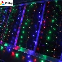3x3M 304Leds EU/US Voltage New Year Christmas Ornament Garlands LED Wedding Fairy String Light Xmas Garden Party Curtain Decor,6