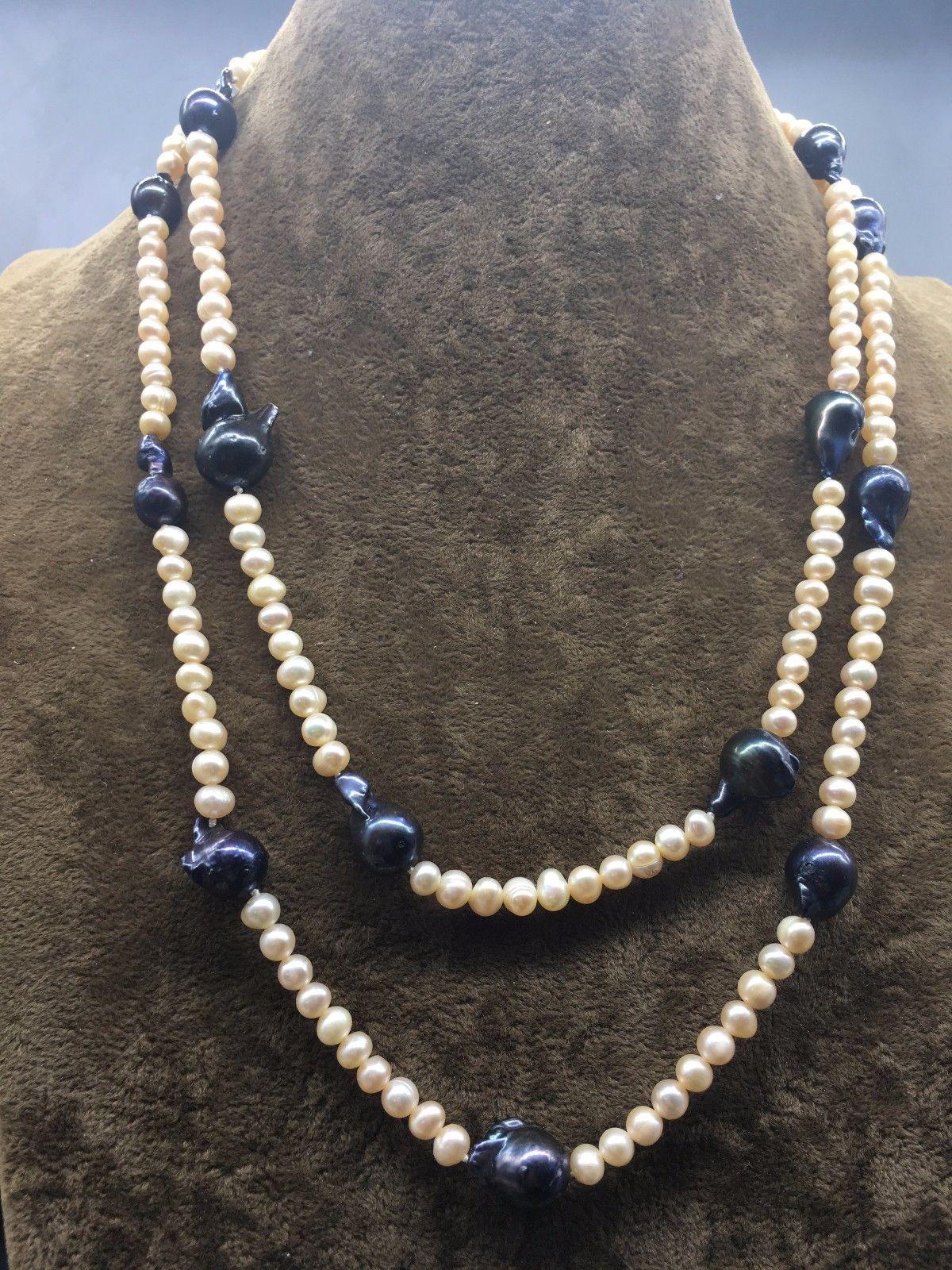 Natural Freshwater Baroque Keshi Reborn Pearl Station Necklace Long
