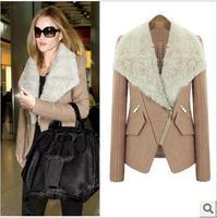 Women Fur Collar Winter Wool Coat Nice New European Fashion Inclined Zipper Warm Woolen Jacket Camel