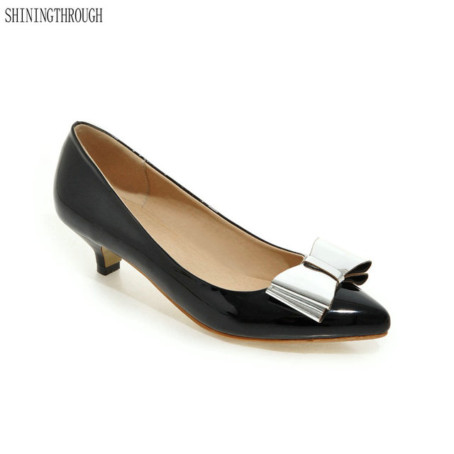 9a86f528664d21 2018 Women Low Heels Shoes Point Toe Boat Shoes Patent Leather Pumps Office Woman  Dress Shoes Black Ladies Shoes zapatos mujer