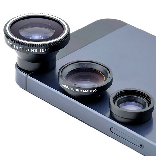 3 In 1 HD Universal Clip Camera Mobile Phone Len Fish Eye Macro Wide Angle For Iphone 4 5 6s Plus&All Android System's phone