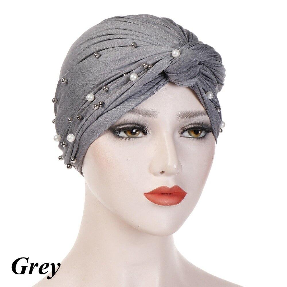 Women Fashion Indian Muslim Hijab Islamic Jersey Beads Cap Stretchy Pleated Turban Hat Knot Head Wrap Elastic Hair Accessories