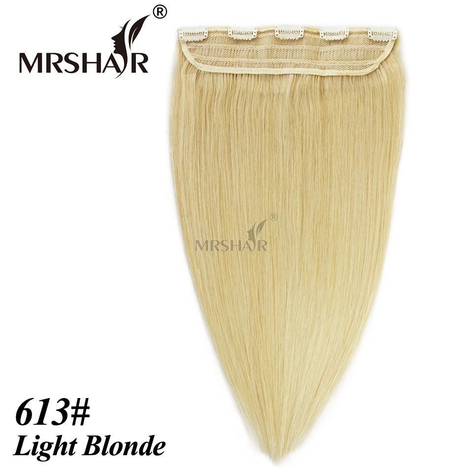 MRSHAIR 613 Clip In Human Hair Extensions 18 22 1pc Tic Tac Hair Straight Hairpiece Brazilian