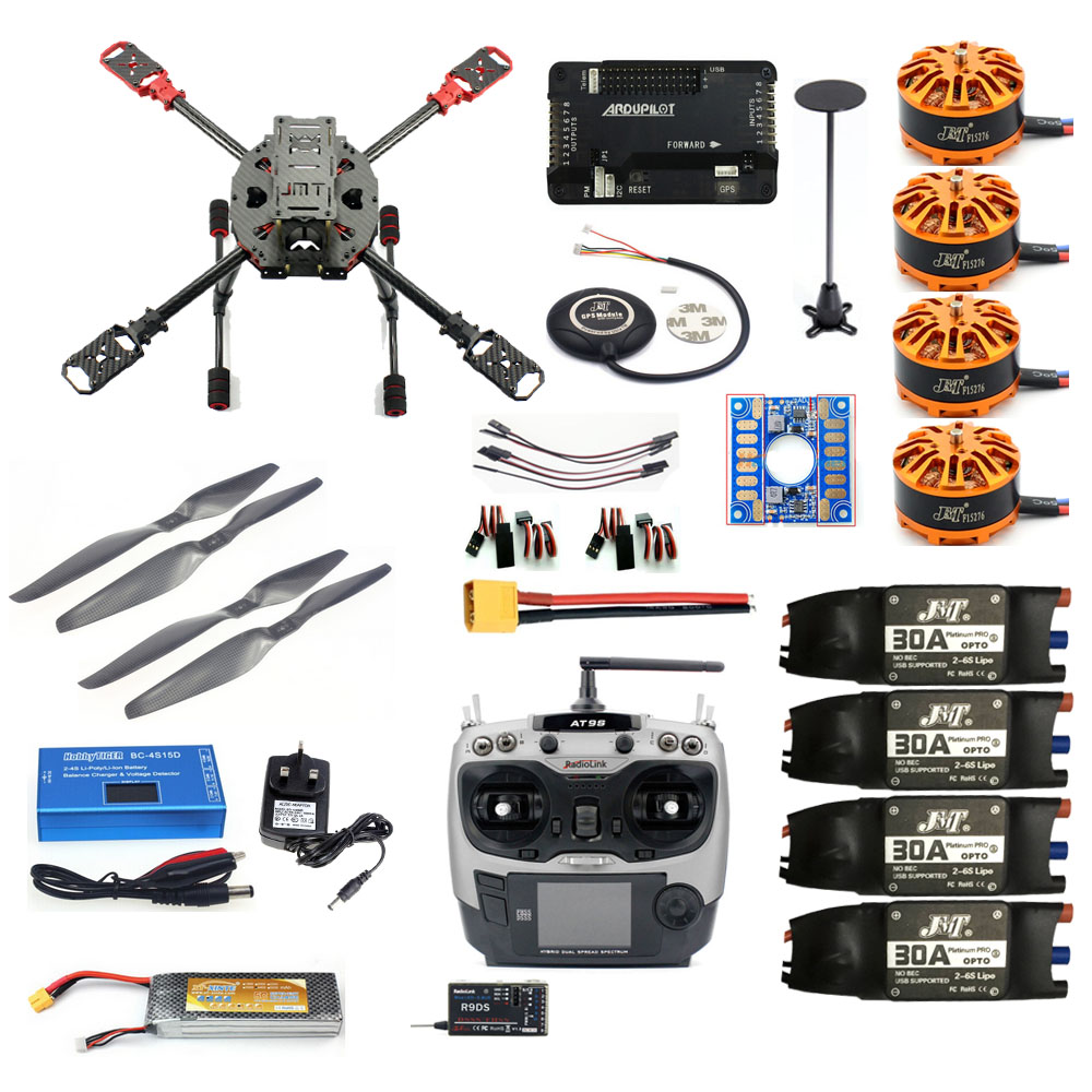 JMT 2.4GHz 4-Aixs DIY RC AirPlane APM2.8 Flight Controller GPS J630 Carbon Fiber Frame Props with AT9S TX Headless Mode Drone original naza gps for naza m v2 flight controller with antenna stand holder free shipping