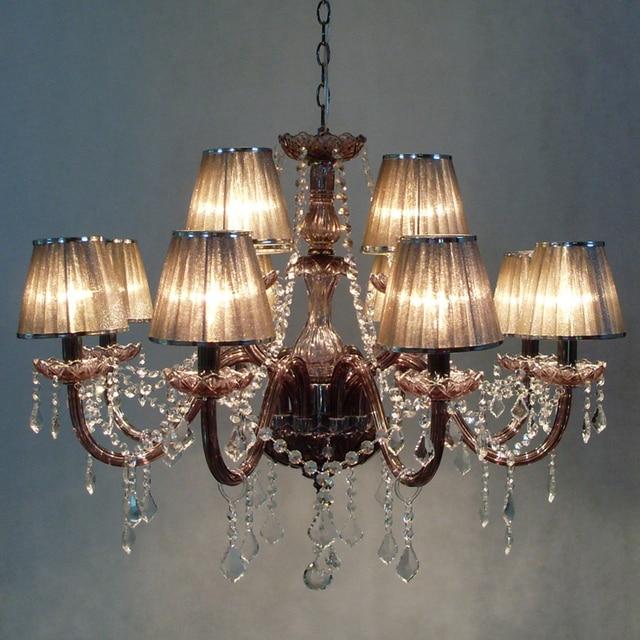 Fantastisch 12 Lampen European Candle Kristall Kronleuchter Lampe Und Kristall Pandents  Indien Gaze Lampenschirm Schlafzimmer Wohnzimmer