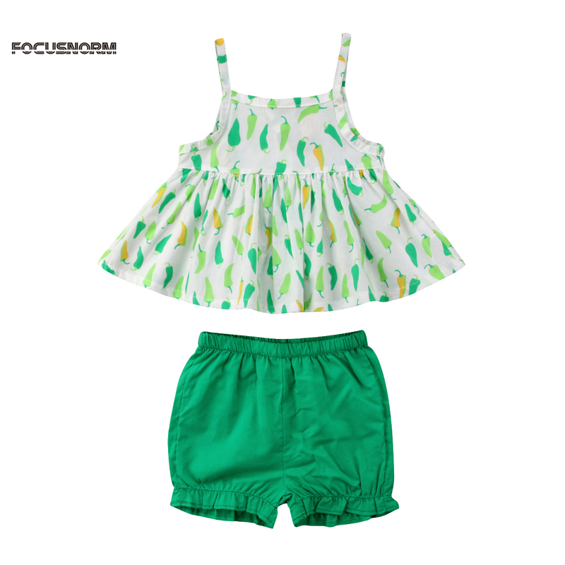 Newborn Infant Baby Girls Summer Lovely 2PCS Sleeveless Suspender Ruffles Green Pepper Print Dress Tops Green Shorts 0-24M