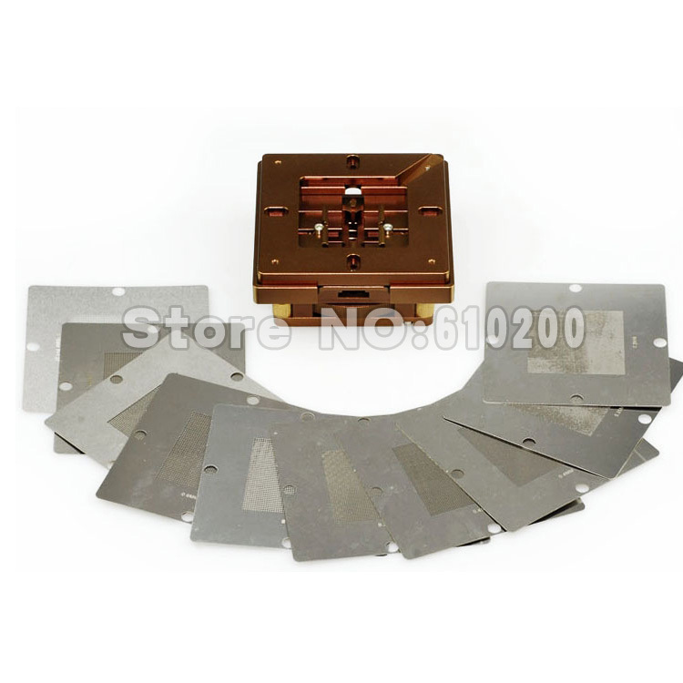 Freeshipping New Arrivals 80*80mm 90*90mm Aluminium alloy BGA Reballing Station BGA Reball Kit Magnetism Lock+10/PCS BGA Stencil new bga 241 pcs 90 90 bga stencils templates notebook and desktop substitute 230 pcs bga reballing stencil 90x90