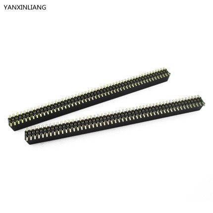 2PCS Pitch 1.27mm 100 Pin 2x50Pin SMT SMD Double Row Female Pin Header Strip PCB Connector 2 x 20p 2 54mm double row pin headers smd female connector plug black 2 pcs