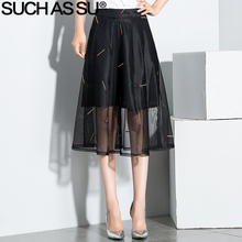 SUCH AS SU Spring Summer Mid Long Skirts Womens 2017 Black Mesh Embroidery High Waist Skirt S-3XL Female Pleated A-Line Skirt