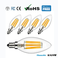 E12/E14 C35 Dimmable LED Filament Candle Incandescent Bulb Sharp Glass 2700k Flicker Free 2/4/6W CE FCC PSE Vintage 5PCS/PACK